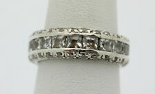 Sterling Silver .925 Vintage Design Cubic Zirconia Surround Ring Size 7   J250