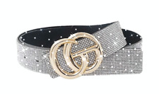 BELT CLEAR RHINESTONE PAVE  ACCENT BUCKLE BELT GOLD HARDWARE