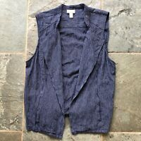 Chicos Womens Size 3 / XL Blue Chambray Pinstripe Waterfall Vest Cardigan Top