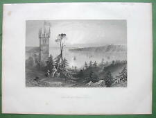 CANADA Church at Point Levi - 1841 Engraving Print by BARTLETT