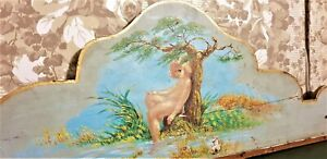 Child river tree wood painting pediment Antique french architectural salvage