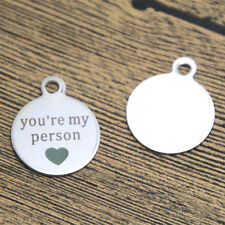 10pcs You're My Person Charm Stainless Steel Silver Tone charm pendant 19 x 22mm