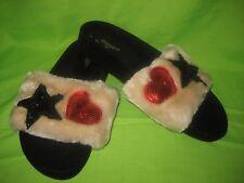 DUNE SANDALS Natural Star Sequin Faux Fur Pool Slider  NEW Size 4 / 37
