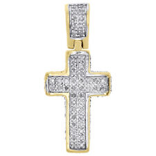 """10K Yellow Gold Real Diamond 3D Puff Dome Cross Pendant 1"""" Pave Charm 0.30 CT."""