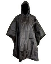 BRITISH ARMY & POLICE STYLE WATERPROOF PONCHO in BLACK NYLON