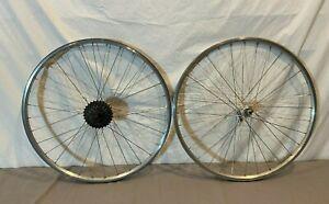 """Vintage 7-Spd 26"""" Mountain Bike Wheelset Weinmann ZAC-19 Rims AceraX Rear Hub"""