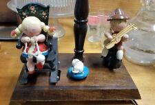 Vintage Nursery Originals Wooden Kids Wind-up Musical Lamp Rocking Chair Brahms
