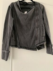 Mens Calvin Klein Open Neck Acid Wash Grey Zip Up Jumper Size Medium Pullover