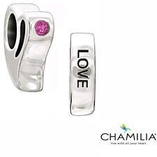 Genuine Chamilia silver 925 Love pink zirconia heart bracelet charm 2025-0951