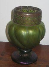 BOHEMIAN  IRIDESCENT GLASS ROSE VASE METAL MOUNT ART NOUVEAU