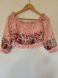 Talisman size small off shoulder top cotton bohemian gypsy embroidered