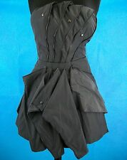 Bebe Uber Zip Origami Gray Dress Strapless Sm Asymmetrical Hem Lined Rock Punk