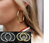 925 Sterling Silber Gold Creolen Kreolen Ohrringe Rund Damen Schmuck Blogger Neu