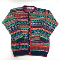 Northern Isles Mens Ugly Christmas Sweater Cardigan Knit Button Front Size M EUC