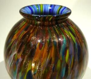 HAND BLOWN GLASS  ART DECOR BOWL, DIRWOOD, END OF DAY & GOLD SPARKLES, n3637