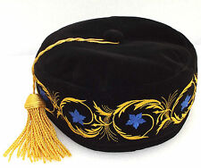 Imperial smoking cap Black hat Gold tassel Blue embroidered flowers 58 cm Large