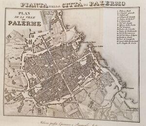 MAPPE ARTARIA EPIMACO PIANTA DELLA CITTA DI PALERMO SICILIA SICILY 1829