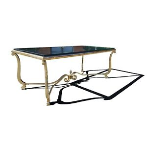 A French neoclassical Hollywood regency brass coffee table