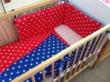 Cushi cots Space saver cot bumper and duvet white stars set on red and blue new