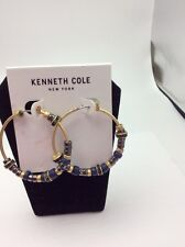$32 Kenneth Cole Sandstone Collection Beaded Hoop Earrings 3F