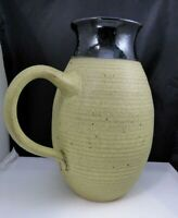 Vintage Studio Art Pottery Pitcher With Handle Stoneware Clay Signed Handcrafted