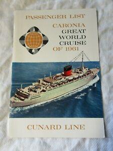 Lot46 - 1961 GREAT WORLD Cruise RMS CARONIA Empty Passenger List CUNARD