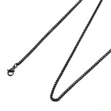 Black Stainless Steel 22 Inch 2 mm Box Neck Chain Necklace