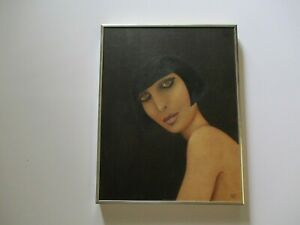 SALLY DAVIS 1970'S PAINTING PRETTY WOMAN FEMALE MODEL PLASTIC FASHION MODERNISM