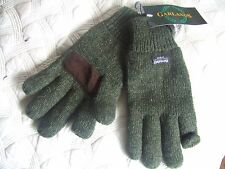 SUEDE PALM FOLD BACK TRIGGER FINGER WOOL MIX INSULATED GREEN HUNTING GLOVES