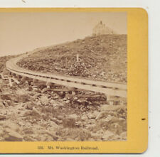 Cog Railway Lizzie Bourne Monument Hotel Summit Mt Washington NH Stereoview