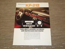 Pioneer KP-212 Car Stereo  Cassette tape  Original Catalogue