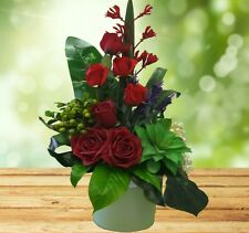Artificial Flowers arrange in glass vase-Beautiful Red Arrangement-Gift or decor