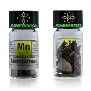 10g 99,9% Manganese metal flakes element 25 sample in labeled glass vial