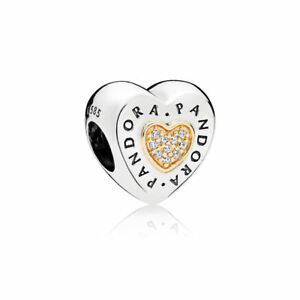 Original Pandora Element Charm Herz- Anhänger Silber 925 Gold 14 K 585 796233CZ