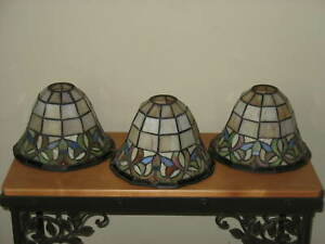 3 Pendant Light Fixtures Tiffany Style Stained Glass Shades Globes Replacements