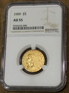1909 Indian Five Dollar Gold Coin NGC AU55 Rare US Coin Half Eagle