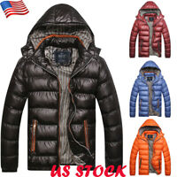 New Mens Winter Warm Hooded Thick Padded Jacket Casual Zipper Parka Coat Outwear