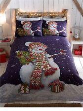 Kids Christmas Bedding Duvet Cover Bright Colourful Festive Xmas Santa Reindeer Happy Snowman Single S29