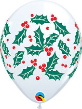 """CHRISTMAS PARTY SUPPLIES BALLOONS 10 x 11"""" WHITE HOLLY & BERRIES LATEX BALLOONS"""