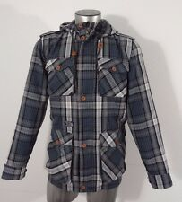 Hurley men's light weight plaid jacket with hood gray M