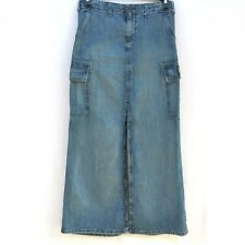 Polo Ralph Lauren Women's Blue Jean CARGO SKIRT Slit Long Maxi Size 2