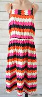 Totem Fit Flare Dress Size 3 Small Pink Black White Orange Striped Sleeveless
