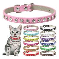 Adjustable Dog Puppy Cat Pet Collar Rhinestone Bling PU Leather Band Supply