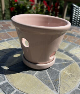 Orchid Pot - Ceramic Light Pink w Circle Holes Great Condition