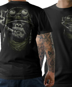 BIKER T-Shirt - Gorilla Monkey Motorrad Chopper Bobber Oldschool Herren S-5XL