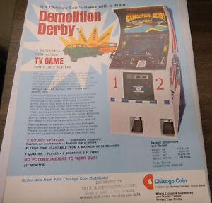 Vintage Demolition Derby Arcade Game Advertising Sheet RARE by Chicago Coin