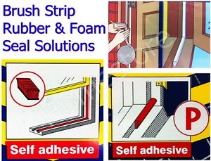 SELF ADHESIVE WARM DRAUGHT SEAL BRUSH FOAM STRIP FOR DOORS & WINDOWS EXCLUDER