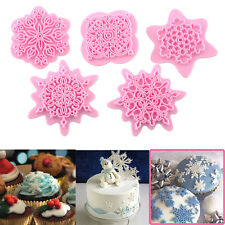 Lace 5Pcs Snowflake Stamp Cake Decorating Mould Cookie Pastry Fandant Embosser
