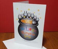 Halloween pumpkin soup greeting card size A6, whimsical cute bats, festive.