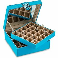 Classic 50 Section Jewelry Box Earring Organizer With Large Mirror Blue Home